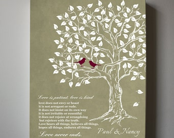 Personalized Family Tree Canvas Art - Love is Patient Love is Kind Family Tree, Gift for Couples,Wedding Anniversary Gift, Guest Book