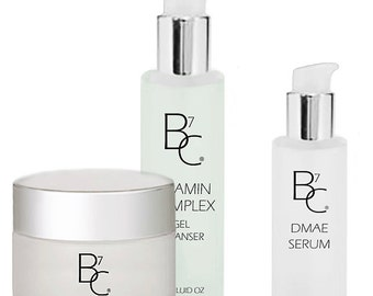 NEW - LARGER SIZES! Organic/Vegan Facial Cleanser, Moisturizer and Serum Kit