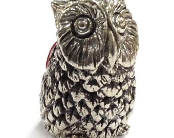 Novelty detailed owl pin cushion 925 sterling silver hallamark