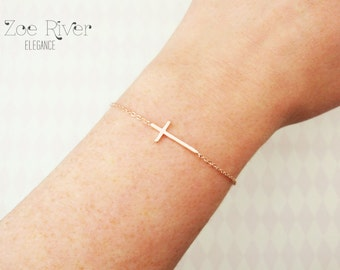Choose rose gold, silver or gold cross bracelet. Rose gold cross bracelet. Dainty cross bracelet