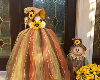 Scarecrow Tutu, Halloween Scarecrow Costume, Scarecrow Tulle Dress with Sunflower, Scarecrow Tutu Dress by My Precious Tutu