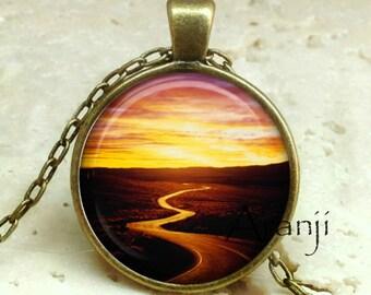 Sunset pendant, sunset necklace, sunset jewelry, sunrise pendant, sunrise necklace, sun pendant, sun, Pendant #SP195BR