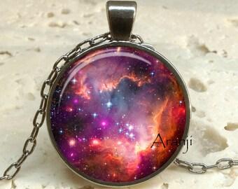 Small Magellanic Cloud galaxy art pendant, nebula necklace, galaxy necklace, space jewelry,  galaxy jewelry, galaxy pendant, Pendant#SP185GM