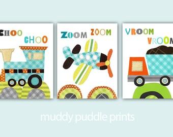 Transportation Nursery prints, Nursery Decor - boys room - kids room wall art - Choo choo - Zoom - Orange Aqua - Plane, Train, Dump Truck