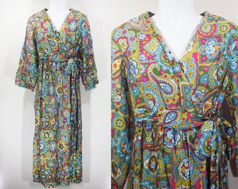 Vintage 70's Paisley & Floral Pattern Wrap Dress S