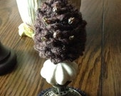 Pine Cone Pin Keep, Pin Cushion, Make-Do, and Home Decor ~ (Ceramic Base ~ Cracked Cream)