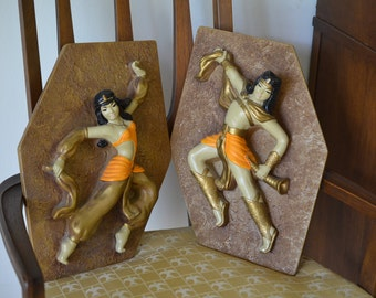 Pair of Large 1950's Chalkware Egyptian Dancers Man Woman Plaster Wall Hangings Rare