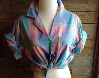 Vintage 1980's Pastel Plaid Button-Up Blouse