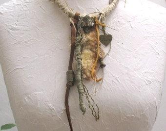 Artistic Tribal Necklace,  Amulet necklace, Talisman necklace,  Wearable Art, necklace with fur, ceramic necklace, line necklace