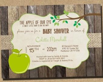 Apple of My Eye Baby Shower Invitation, Gender Neutral Baby Shower Invite _1009