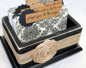 RECIPE BOX, Rustic Recipe Box, Recipe Box and Dividers, Black and Ivory Damask, Black Wooden Box, Rustic Burlap