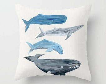 Whale Nautical Beach House Throw Pillow Cover, whale pillow, beach house pillow, ocean pillow, nautical throw, nautical pillow