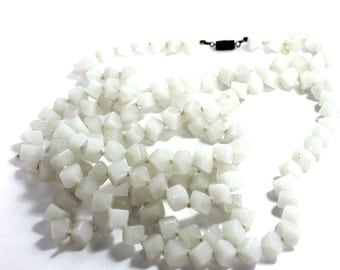 square beaded minimal jewelry- extra long necklace