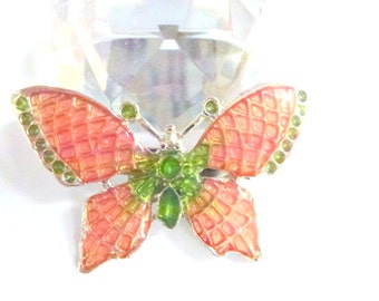 pink butterfly brooch- pink green silver- free spiritual gift- bohemian present-natur addict gift- friendship gift- mother's day