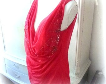 red beaded top in size  xl