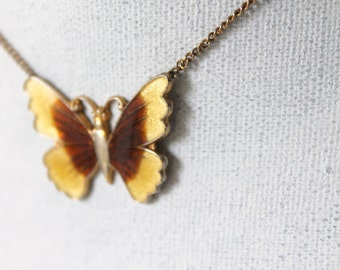 mustard butterfly necklace- spiritual gift- enamel yellow brown vintage- fly nature beauty- gift for her- message from an angel