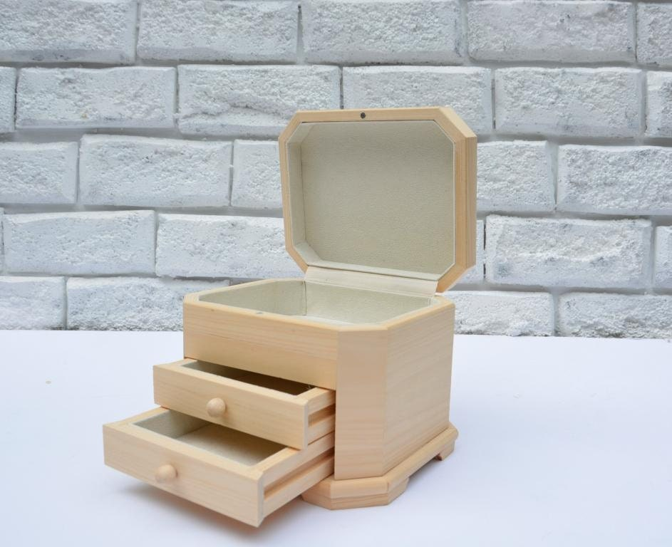 Unfinished wood jewerly box with drawers wooden