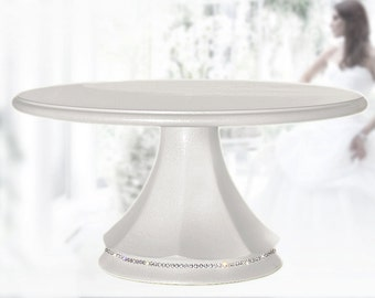 Wedding cake stand classic white pearl pedestal with crystal band
