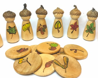 Simple Gifts Original Design Tree Identification PegCorns // Made to Order // Leaves and Nuts // Waldorf and Montessori Educational Toy