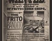 Fridge Magnet Frito Bandito ad image from 1968, Fritos corn chips, Wanted poster