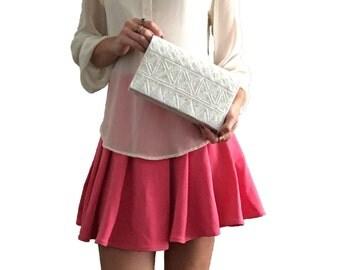Cream Beaded Sequin Formal Clutch Handbag