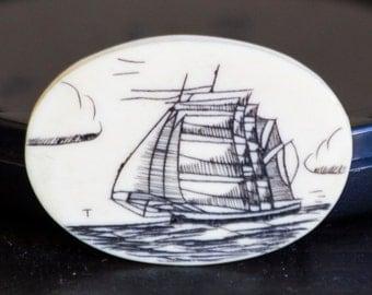 Vintage Scrimshaw Tall Ship/Golden Age of Sail Carving