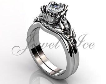 Engagement Ring Set - 14k White Gold Diamond Unique Flower Wedding Band Engagement Ring Set Bridal Set Anniversary Ring Set ER-1120-1