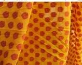 Flat 25% Off Handloom Paisley Cotton Silk Brocade Fabric in Yellow and Reddish Maroon - Decorative Chanderi Silk Fabric