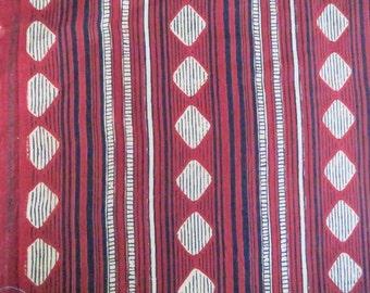 Indian Handloom cotton Geometric Striped Print Fabric by Yard