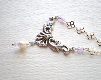 Pearl pendant necklace -  victorian style necklace antique scroll design, pearl solitaire, fancy silver chain, lilac crystals, pearl jewelry