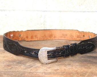 Vintage Girls Cowboy Leegin Belt, With Silver Hearts, Size 26