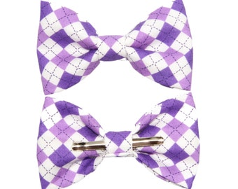 Purple / White Argyle Clip On Cotton Bow Tie - Choose Boys or Men's Sizes Bowtie ~ Prom / Gift Giving / Formal