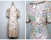 STUNNING Iridescent Pastel Sequin Dress // Ivory Pearl Embellished Dress // Art Deco Trophy Sequined Dress