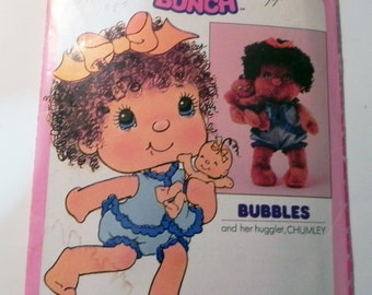 1980s Hugga Bunch doll Bubbles Huglet Chumley stuffed toy sewing pattern Butterick 3397 UNCUT FF