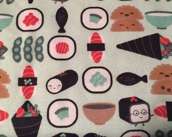 FLANNEL - Sushi Fabric - Sushi Flannel - Japanese Food Fabric - Japanese Food Flannel - Edamame Fabric - Sashimi Fabric - Raw Fish Fabric