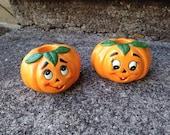Lefton Anthropomorphic Pumpkin Candle Holders Vintage Halloween Decoration