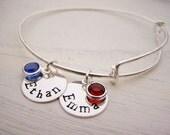 Personalized Bracelet - TWO Names Hand Stamped Adjustable Bangle Bracelet - Birthstone Bracelet - Personalized Jewelry - Silver Bangle