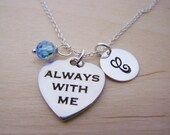 Always With Me Necklace - Swarovski Birthstone Initial Personalized Sterling Silver Necklace - Gift for Her