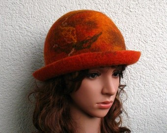 Womens felted hat Felted Cloche orange hat Hand handmade Felted Wool Hat Bergschaf wool Ready to ship