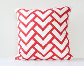 Red Geometric Pillow Cover, Decorative Geometric Pillow Cover, Red & White Print Pillow Cover, Modern Decorative Pillow Cover, 16 x 16 Cover