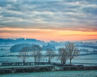 Ireland Photography, Misty Irish Morning, Teal Orange Pink, Northern Ireland Photography, Irish Hills