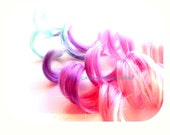Cotton Candy PINK Hair Extensions Ombre Pastel Clip in Festival Rave Hair EDC Cosplay Coachella Exotic Dance, Dance wear accessories