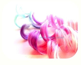 Cotton Candy Queen Hair Extensions Ombre Pastel Clip in Hair, Dip Dye Rainbow Real Human Hair