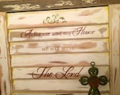 Salvaged Plantation Shutter And Old Wood Used To Place Bible Verse and Cross