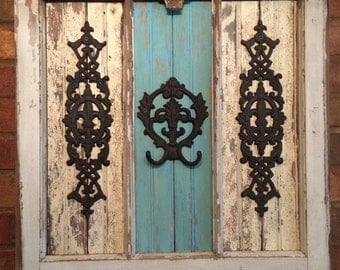 Unique Window Frame with Rustic Wood and Fleur de lis