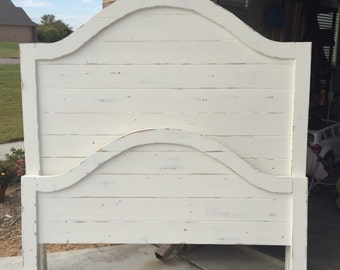 Headboard and footboard, farmhouse bed, white distressed bed