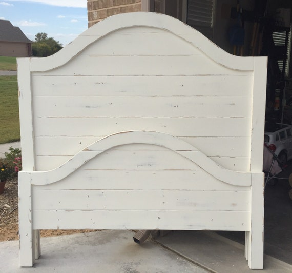Headboard and footboard farmhouse bed white by RhenieDenDesigns