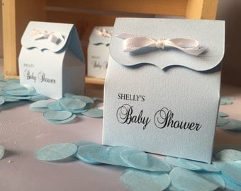 Baby Blue Shower Favor Bags with White Ribbon: 10 Personalized Favor Bags