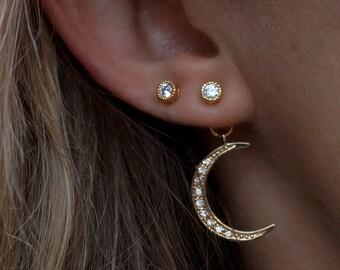 Moon and Sky Drop Earrings