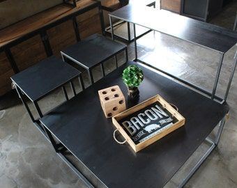 Steel top Cube Coffee Table